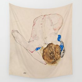 """Egon Schiele """"Nude with Blue Stockings, Bending Forward"""" Wall Tapestry"""