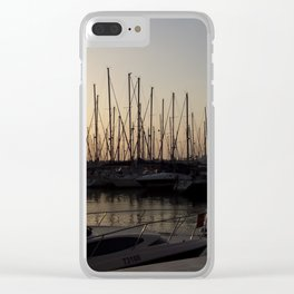Yacht anchored at sunset Clear iPhone Case