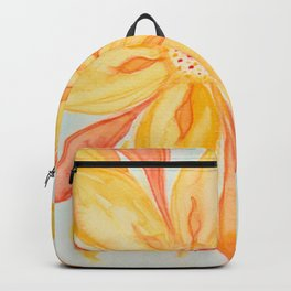 Sunburst Yellow and Orange Abstract Watercolor Flower Backpack