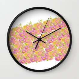 Pink coral yellow watercolor hand painted floral Wall Clock