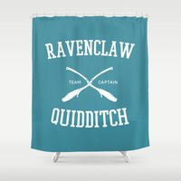hufflepuff Shower Curtains featuring Hogwarts Quidditch Team: Ravenclaw by IA Apparel