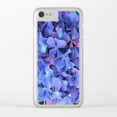 BLUE ABSTRACTED HYDRANGEA YELLOW-PINK Clear iPhone Case