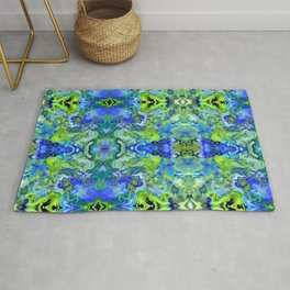Lime and Blue Marble Rug