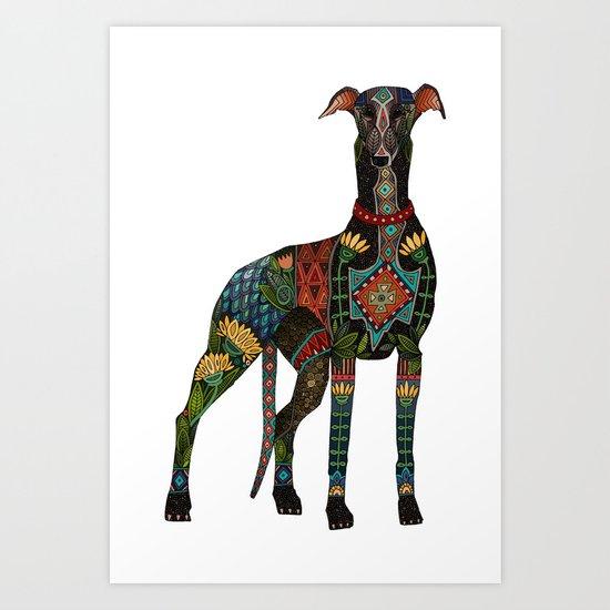 greyhound white Art Print