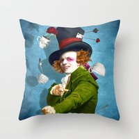 mad hatter Throw Pillows featuring Mad Hatter by Diogo Verissimo