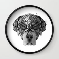 rottweiler Wall Clocks featuring Ornate Rottweiler by Adrian Dominguez