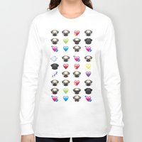 emoji Long Sleeve T-shirts featuring Emoji Pug  by Huebucket