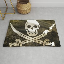 Pirate Skull in Cross Swords Rug