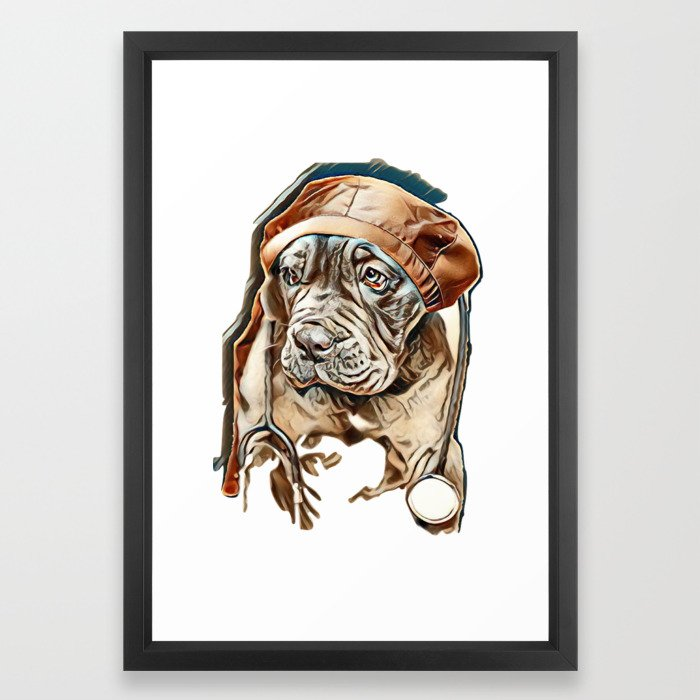 Neapolitan Mastiff Puppy With Vet S Cap And Stethoscope Image Framed Art Print By Kemnabi Society6