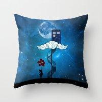 banksy Throw Pillows featuring Tardis Stair banksy ballons Girl by neutrone