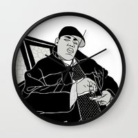 notorious big Wall Clocks featuring Notorious by madebytraceyleigh
