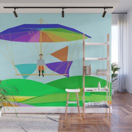 Letur Flying his Parachute-Glider Machine 1854 Wall Mural