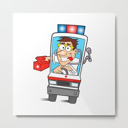 Doctor Driving Ambulance Metal Print