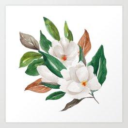 White Magnolia Bouquet I Art Print