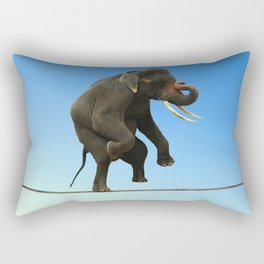Elephant Walking on wire Rectangular Pillow