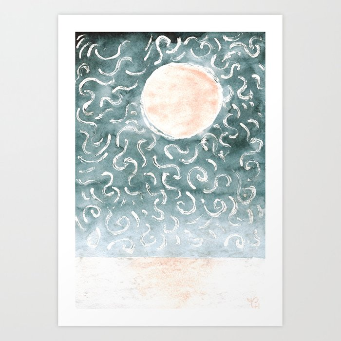 pink moon, silver wind Art Print