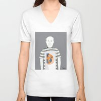pablo picasso V-neck T-shirts featuring Pablo Picasso portrait by Irene LoaL
