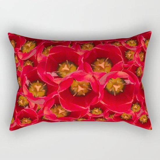 Venetian Red Tulips Rectangular Pillow