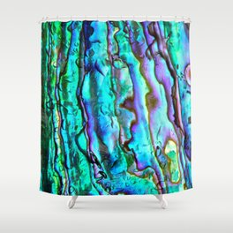Glowing Aqua Abalone Shell Mother of Pearl Shower Curtain