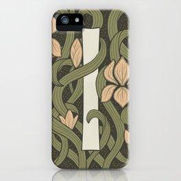 Floral Monogram Letter I iPhone Case