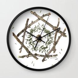 beech sticks, hemlock needles, quail egg... nature mandala Wall Clock