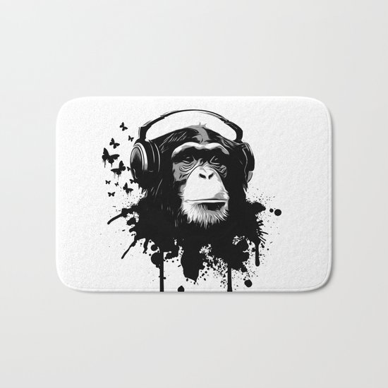 Monkey Business - White Bath Mat