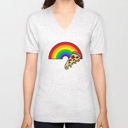 pizza rainbow Unisex V-Neck