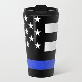 Distressed Thin Blue Line American Flag Travel Mug