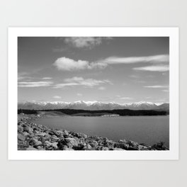 Mount Cook, New Zealand Black & White Art Print
