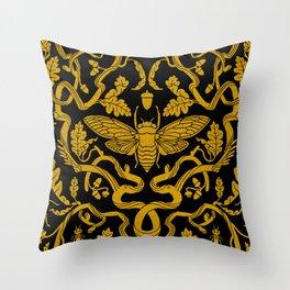 Cicada Oak Damask Throw Pillow