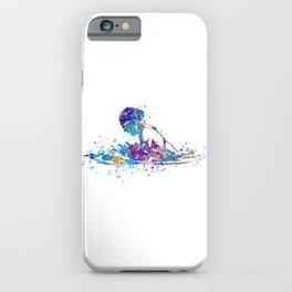 Girl Swimming Breaststroke Watercolor Art iPhone Case