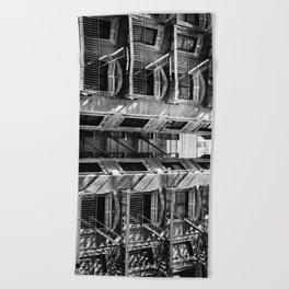 New York fire escapes Beach Towel