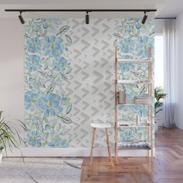 Gray arrows and blue flowers Wall Mural