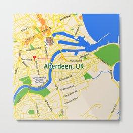 Map of Aberdeen, UK Metal Print