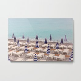 Beach Umbrellas in Nice Metal Print