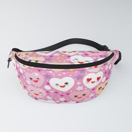Funny Kawaii heart pink, yellow, lilac, orange, green on pink fuchsia background Fanny Pack