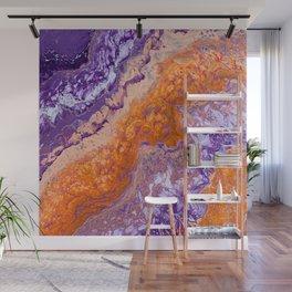 Clemson Orange and Purple Paint Pour Effect Wall Mural