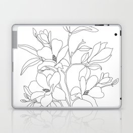 Minimal Line Art Magnolia Flowers Laptop & iPad Skin