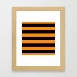 Dark Pumpkin Orange and Black Halloween Cabana Stripes Framed Art Print
