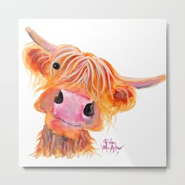 Scottish Highland Cow ' NESSIE ' by Shirley MacArthur Metal Print