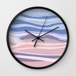 Bohemian Waves // Abstract Baby Blue Pinkish Blush Plum Purple Contemporary Light Mood Landscape  Wall Clock