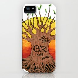 Logo, Sunset with Green Leaves Variant iPhone Case