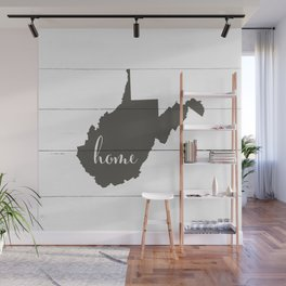 West Virginia is Home - Charcoal on White Wood Wall Mural