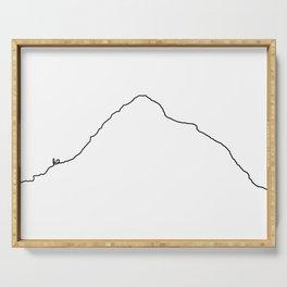 K2 Art Print / White Background Black Line Minimalist Mountain Sketch Serving Tray