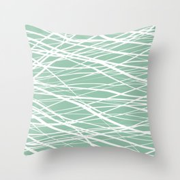 Stripes Shakers Moss and White Throw Pillow