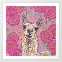 Perfectly Pink Llama Art Print
