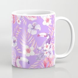 Flamingo and Garden Flowers Coffee Mug