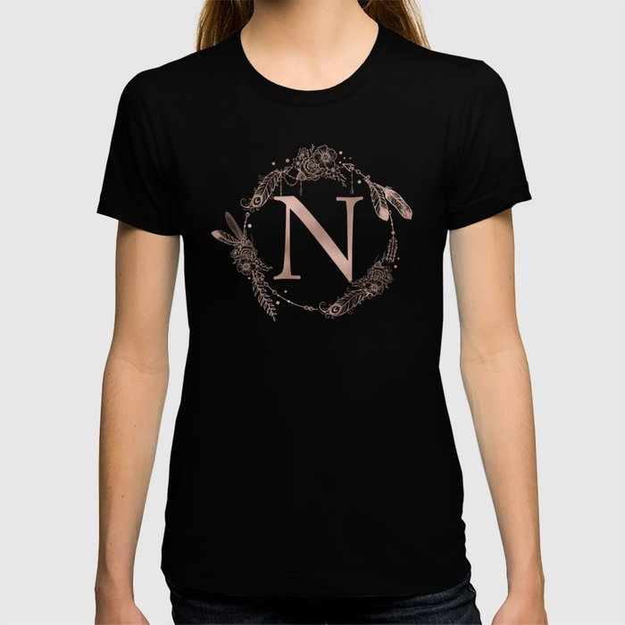 Letter N Rose Gold Pink Initial Monogram T-shirt