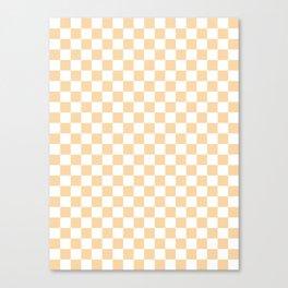 Small Checkered - White and Sunset Orange Canvas Print