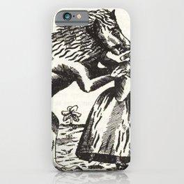 Werewolf attack Medieval etching iPhone Case